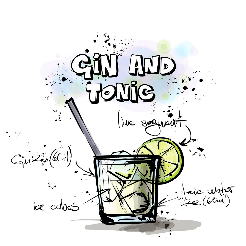 Hand Drawn Illustration Of Cocktail. Gin & Tonic. Vector Collection.