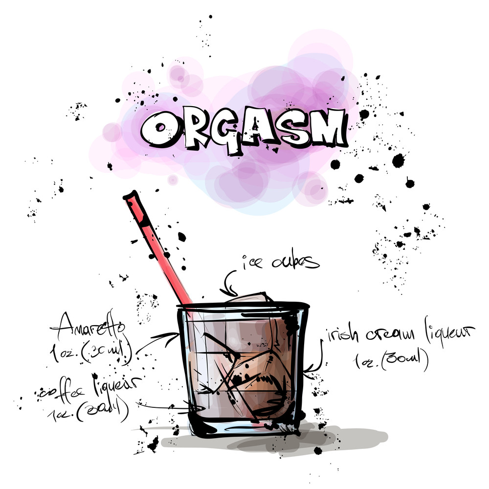 Hand Drawn Illustration Of Cocktail. Orgasm. Vector Collection.