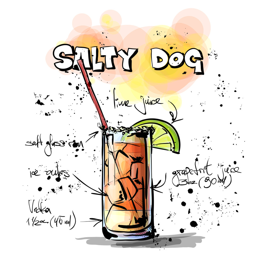 Hand Drawn Illustration Of Cocktail. Salty Dog. Vector Collection.