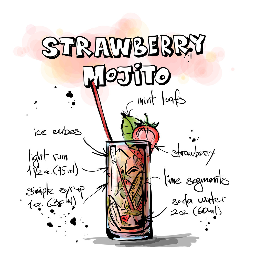 Hand Drawn Illustration Of Cocktail. Strawberry Mojito. Vector Collection.