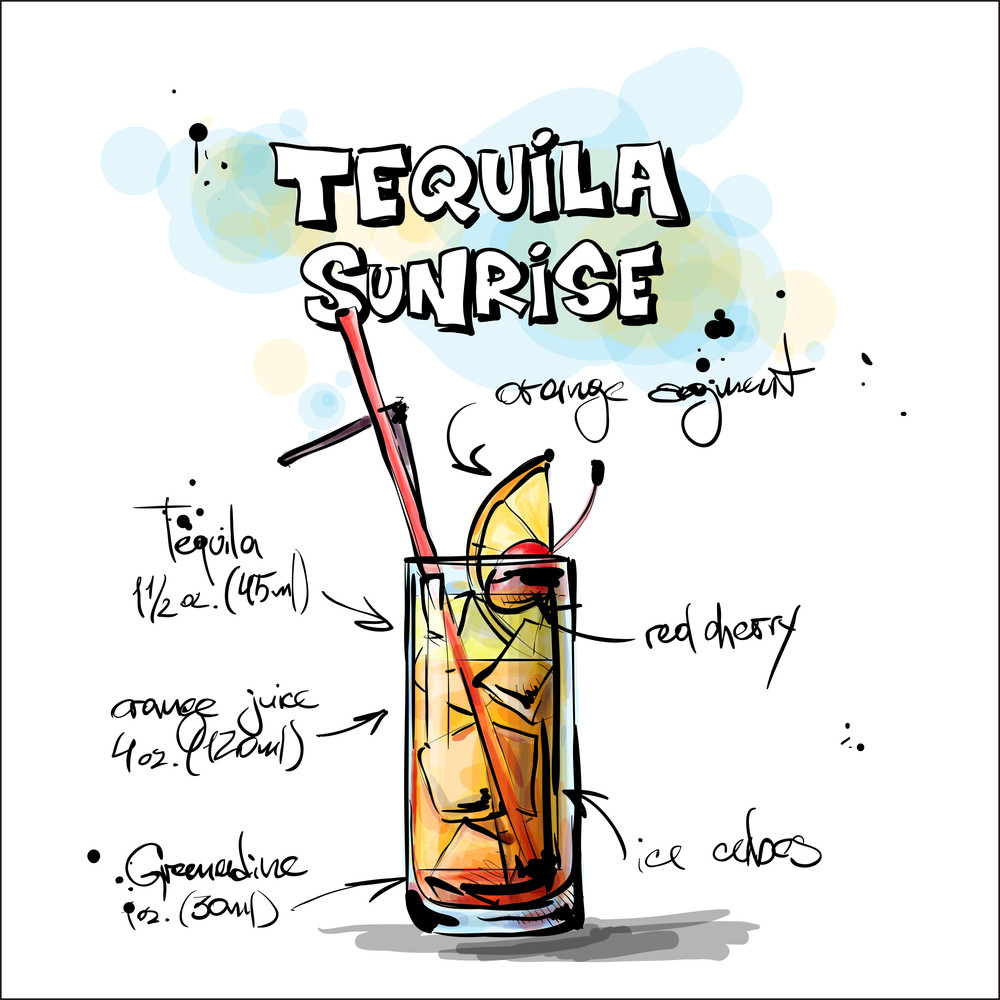 Hand Drawn Illustration Of Cocktail. Tequila Sunrise. Vector Collection.