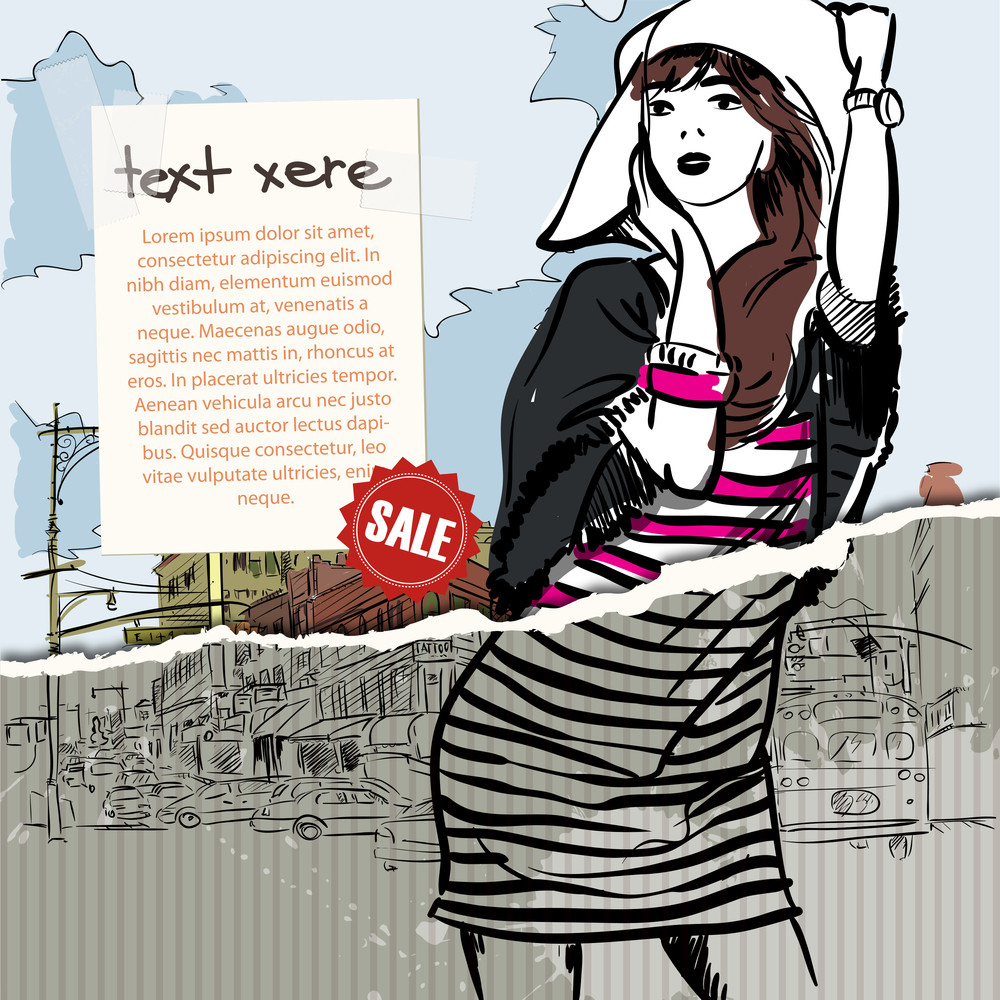 Hand Drawn Illustration Of Fashion Girl In Sketch Style On The Torn Paper. Vector