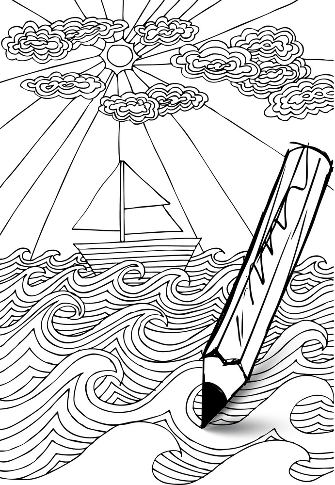 Hand Drawn Styled Sea With Clouds