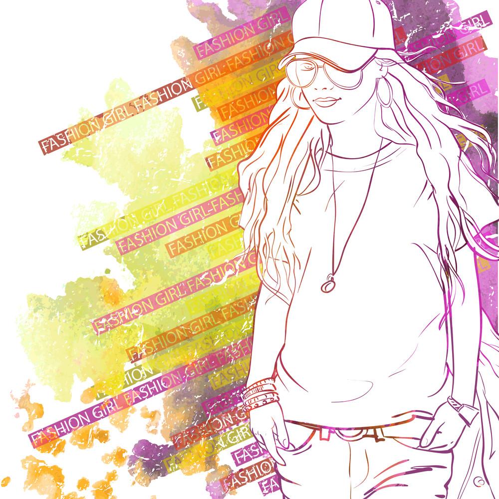 スケッチスタイルでかわいい女の子のイラストで手描きの水彩の背景