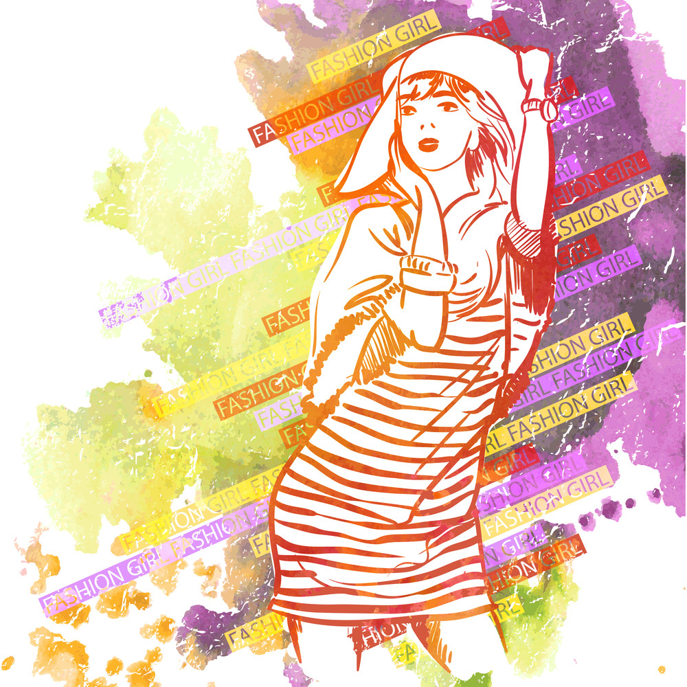Hand Drawn Watercolor Background With Illustration Of A Pretty Girl In Sketch Style. Vector Illustration.