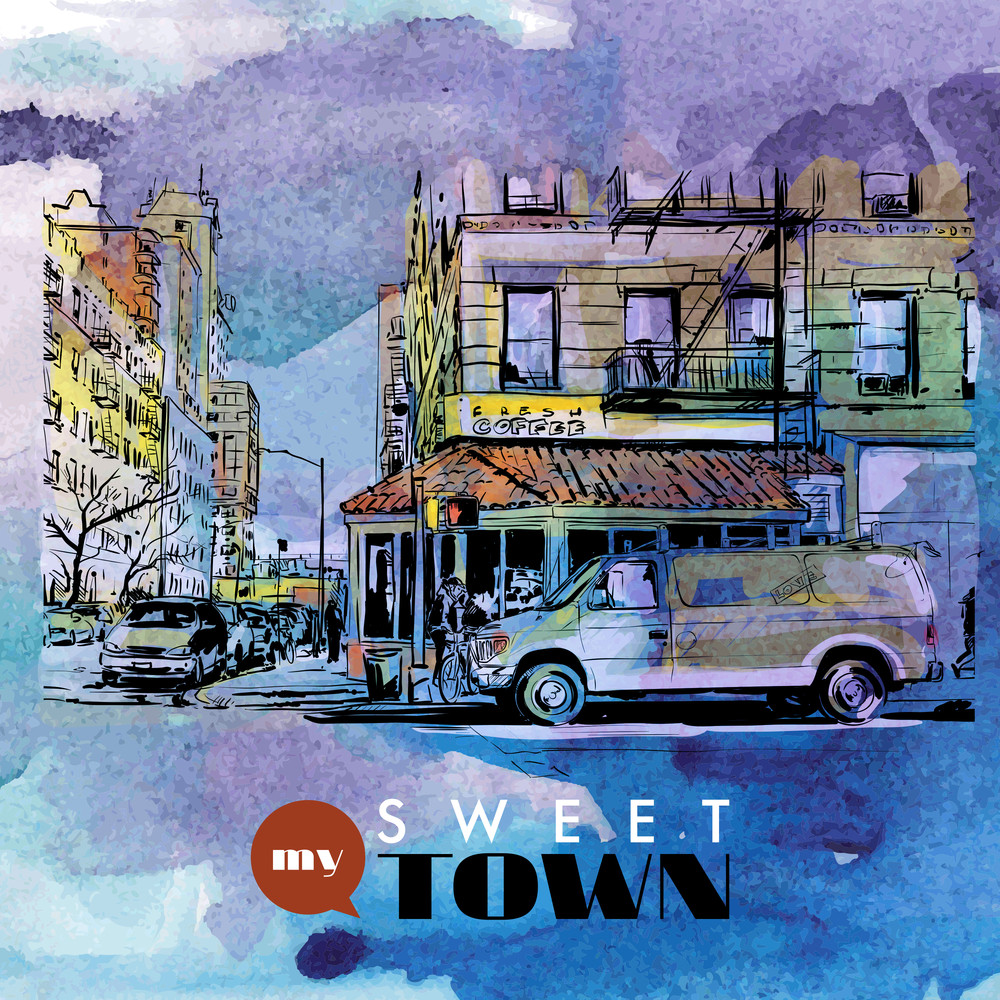 Hand Drawn Watercolor Background With Illustration Of Cityscape In Sketch Style. Vector Illustration.