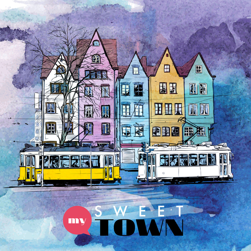 Hand Drawn Watercolor Background With Illustration Of Old Tram In Sketch Style. Vector Illustration.