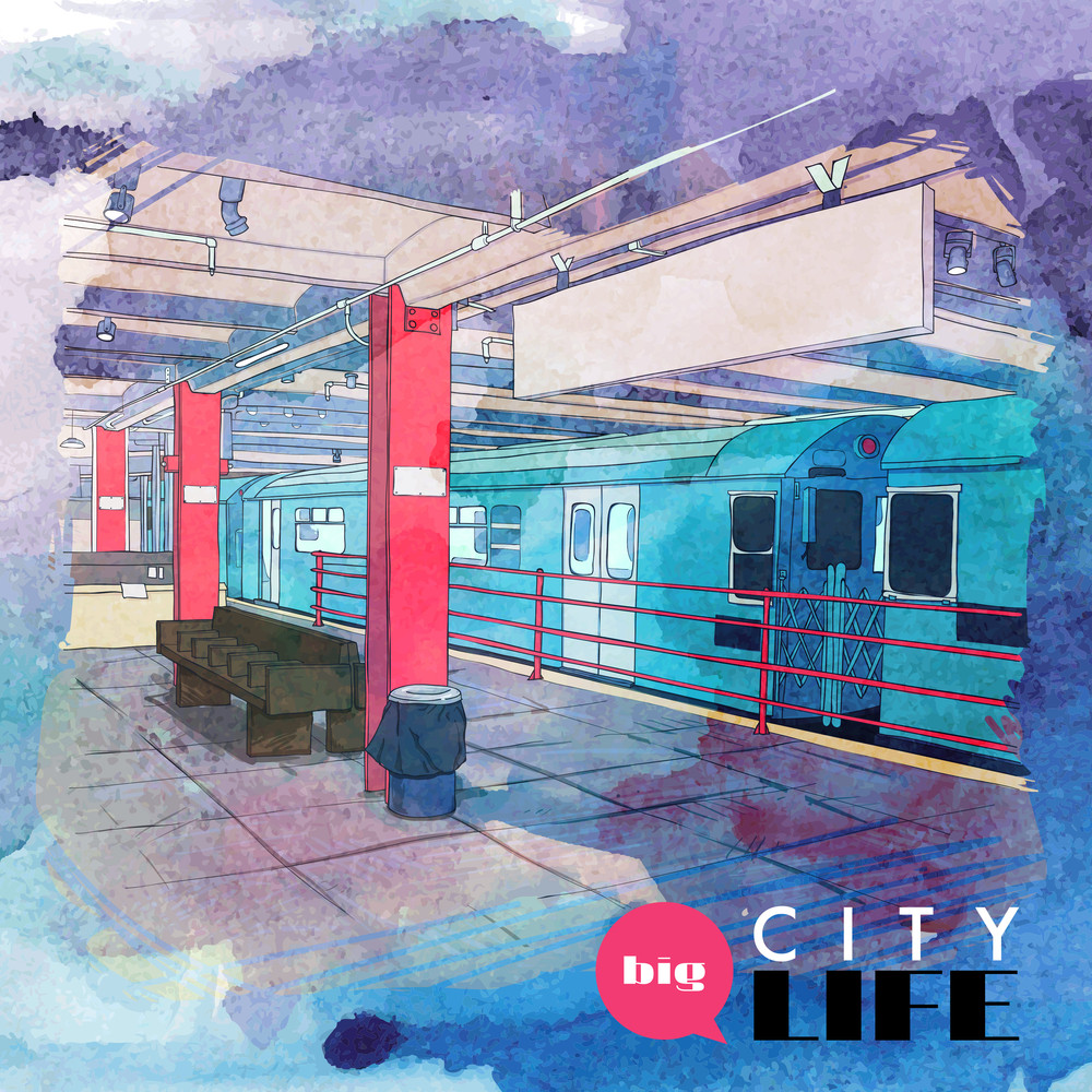 Hand Drawn Watercolor Background With Illustration Of Subway In Sketch Style. Vector Illustration.