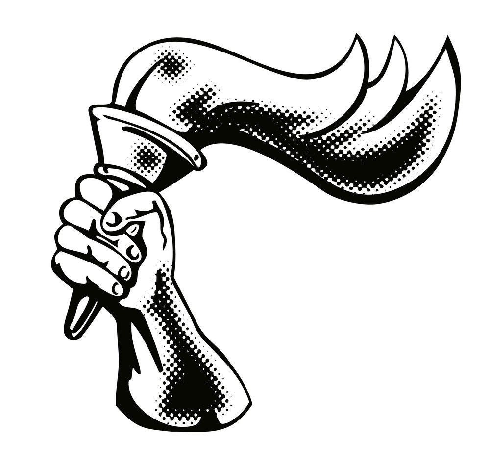 Hand Flaming Torch Retro