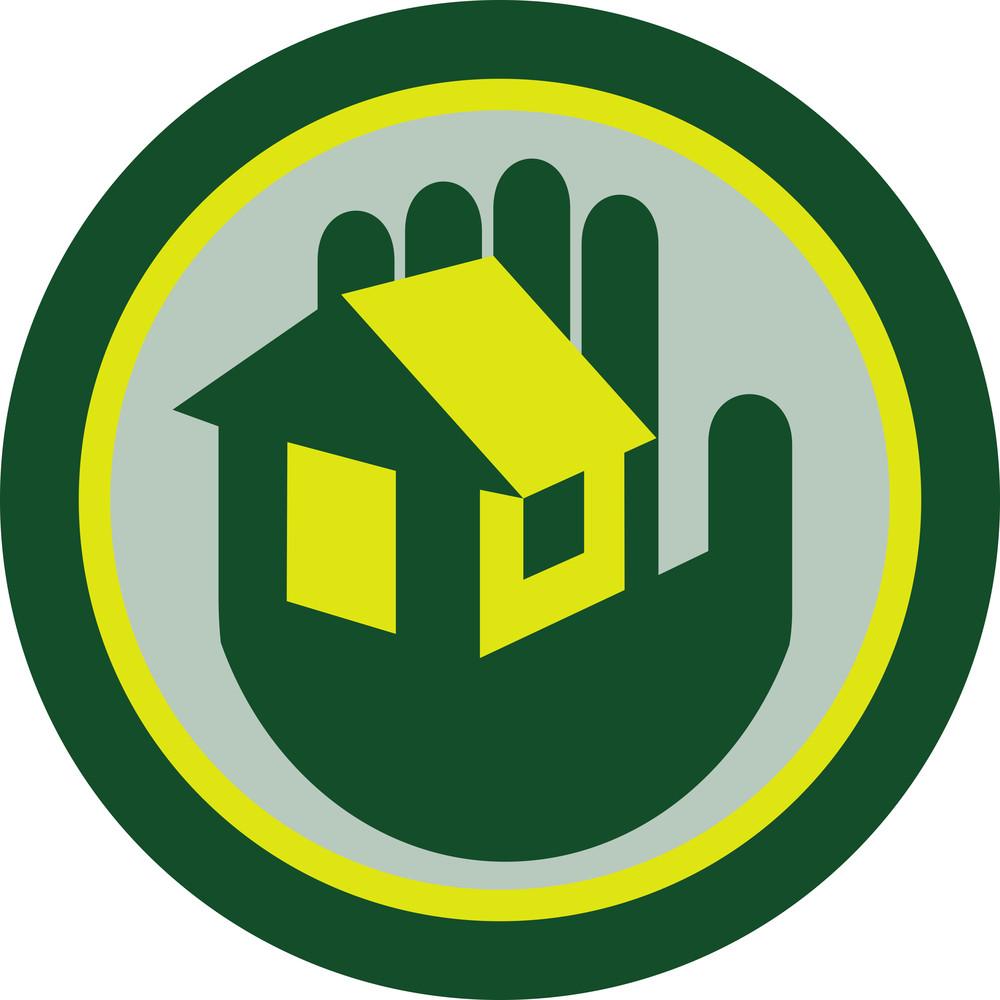 Hand Holding House Circle Retro