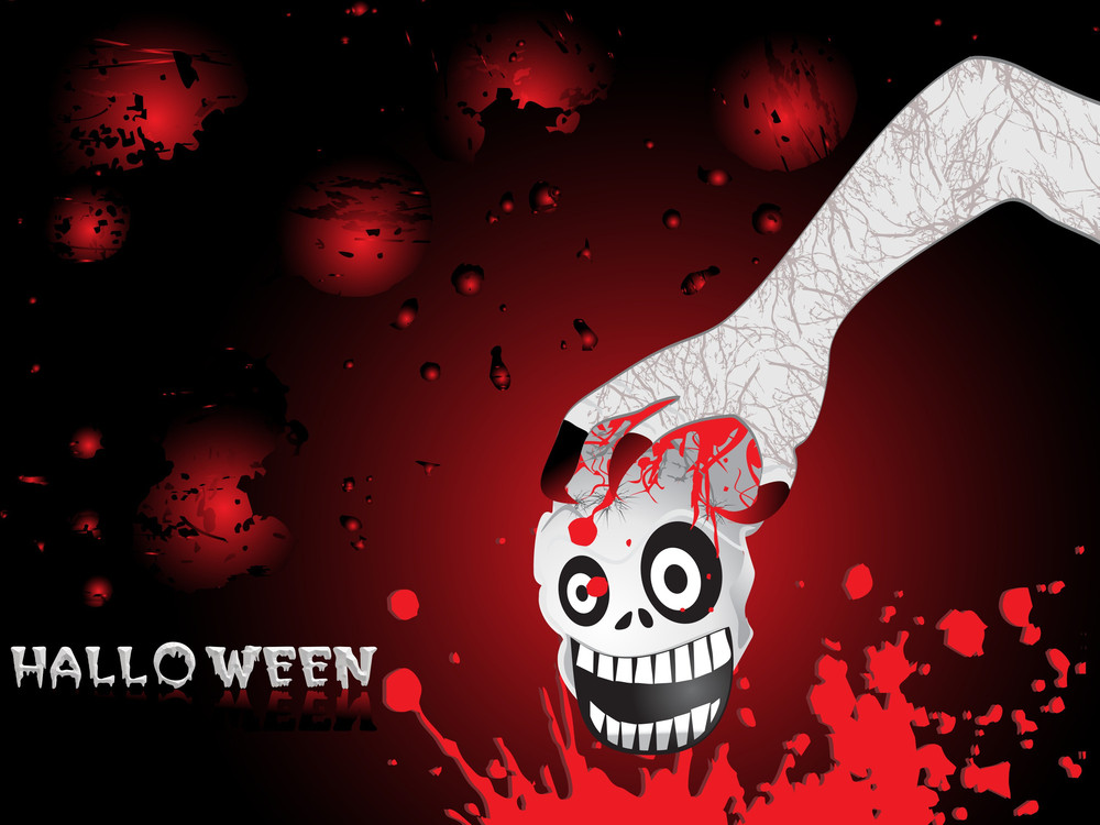 Hand Holding Skull With Grunge Background