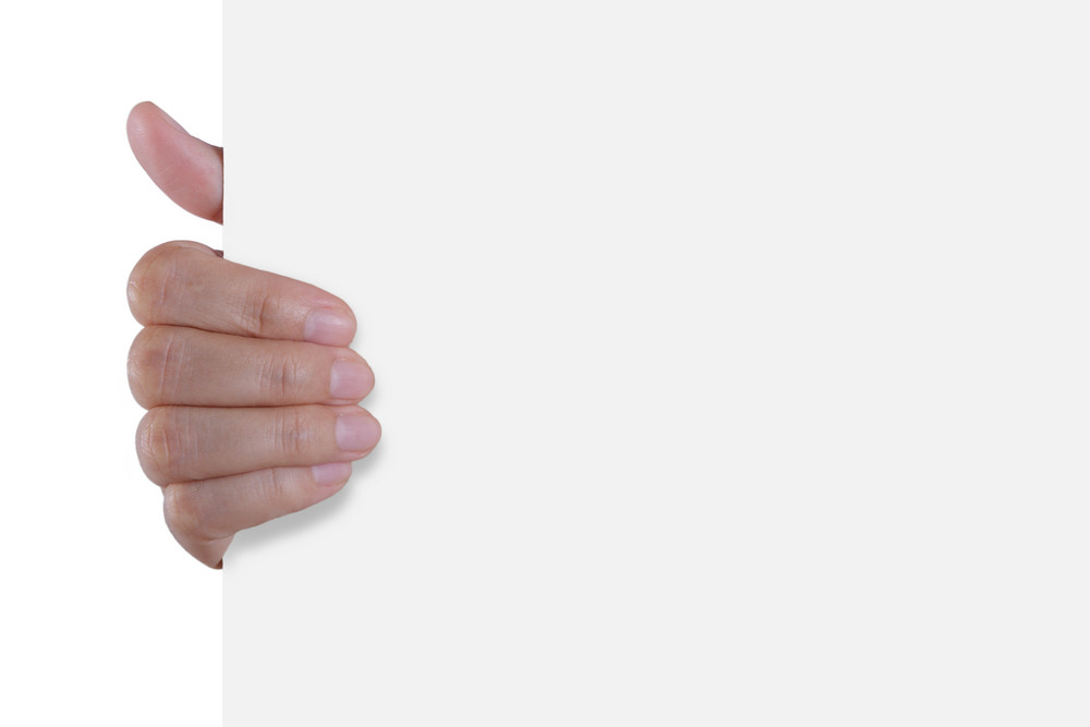 Hand Holding White Empty Paper