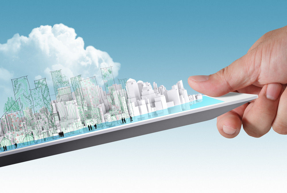 Hand Picking Up Tablet With City