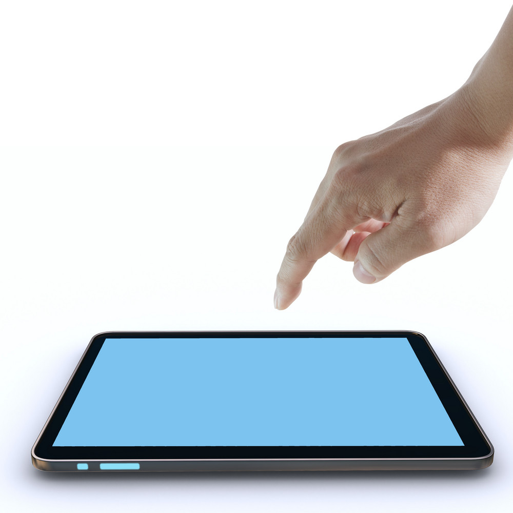 Hand Pointing On Touch Screen ,touch-pad