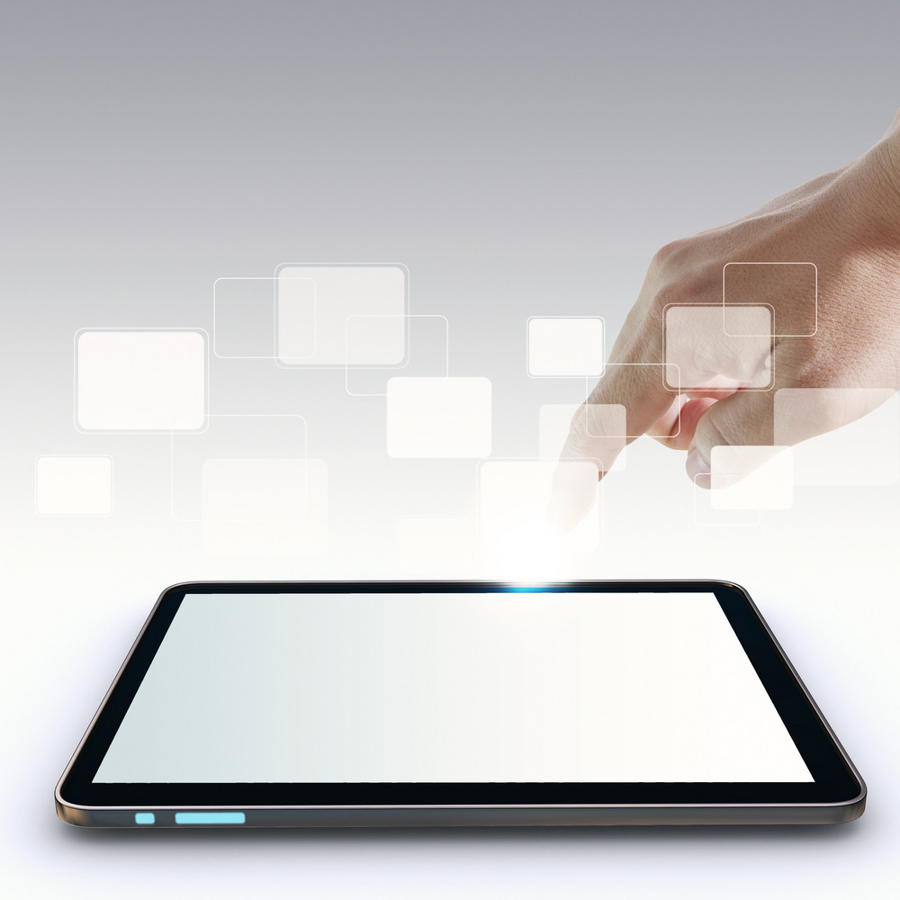 Hand Pointing On Touch Screen,touch-pad,and Blank Virtual Buttons
