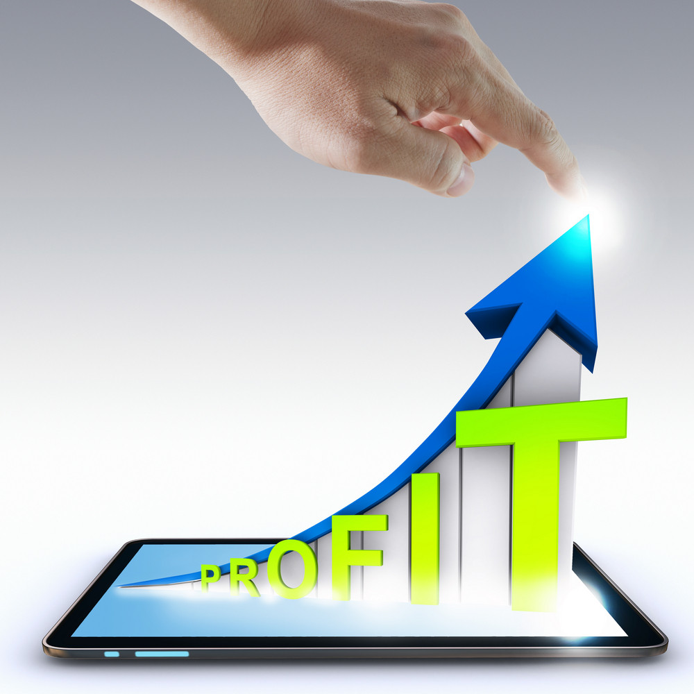 Hand Pointing Profit Graph On Touch Screen ,touch- Tablet