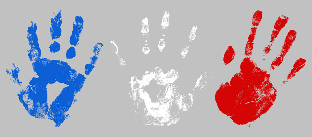 Hand Prints Usa Independence Day Vector Theme Design