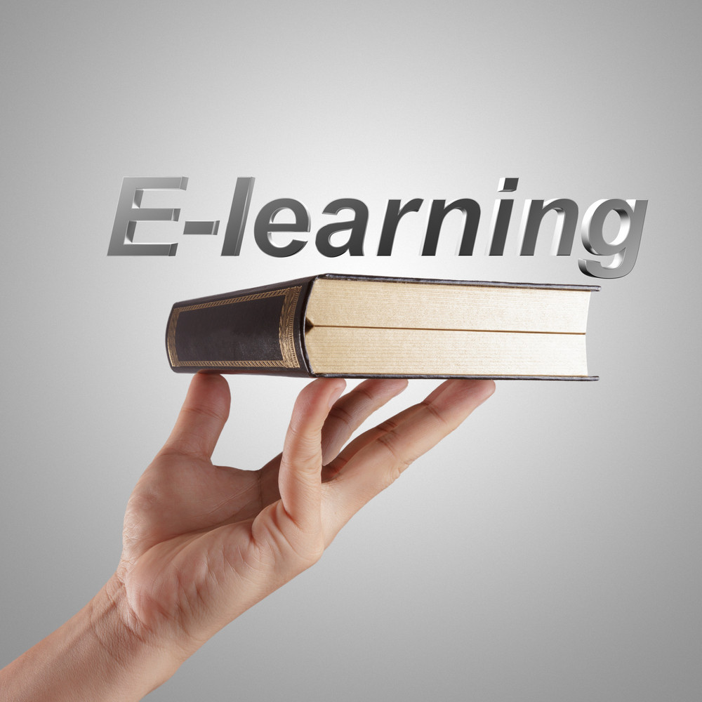 Hand Shows A E-learning Word