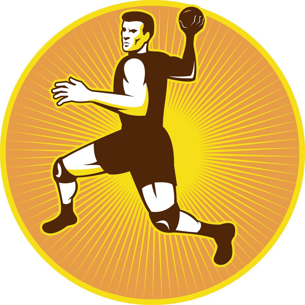 Handball Player Jumping Throwing Ball Scoring Retro