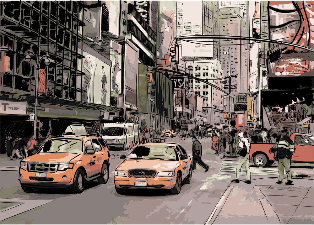 Handdraw Vector Illustration Of Big Street.