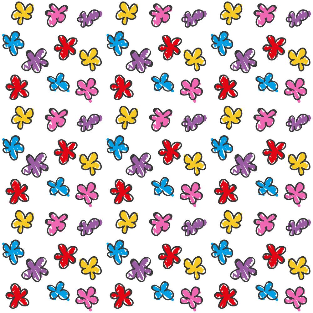 Children's Hand Drawn Pattern Of Flowers
