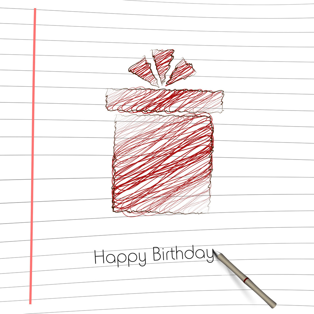 Handdrawn Gift Box On Notebook Paper