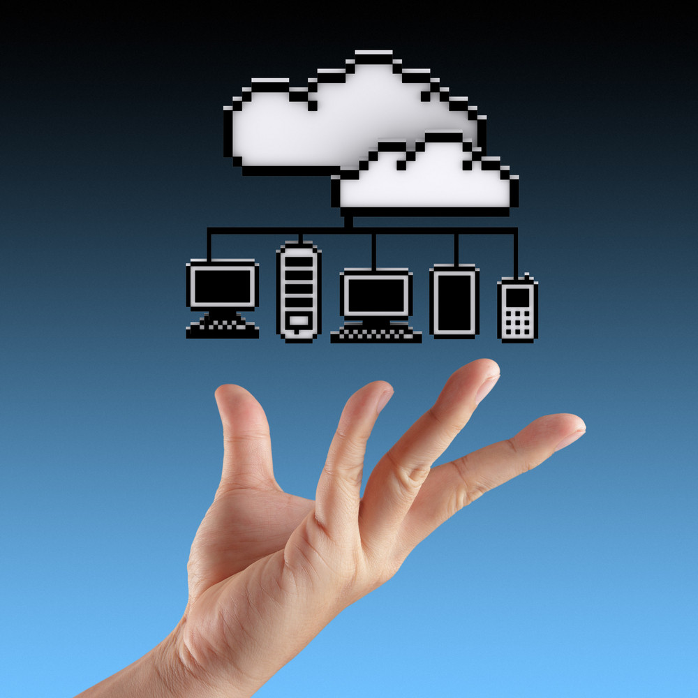 Hands Exhibiting The Cloud Computing