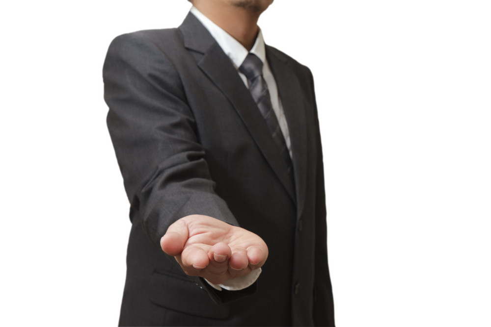 Hands In Offering Gesture Against