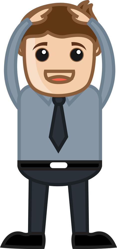 Hands On Head - Business Cartoon Character Vector