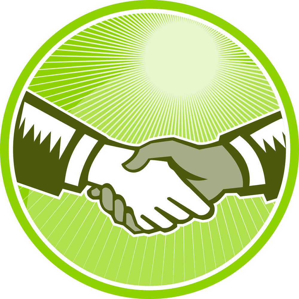 Handshake Black White Woodcut Circle
