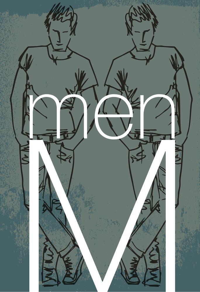 Handsome Men Cover. Vector Illustration