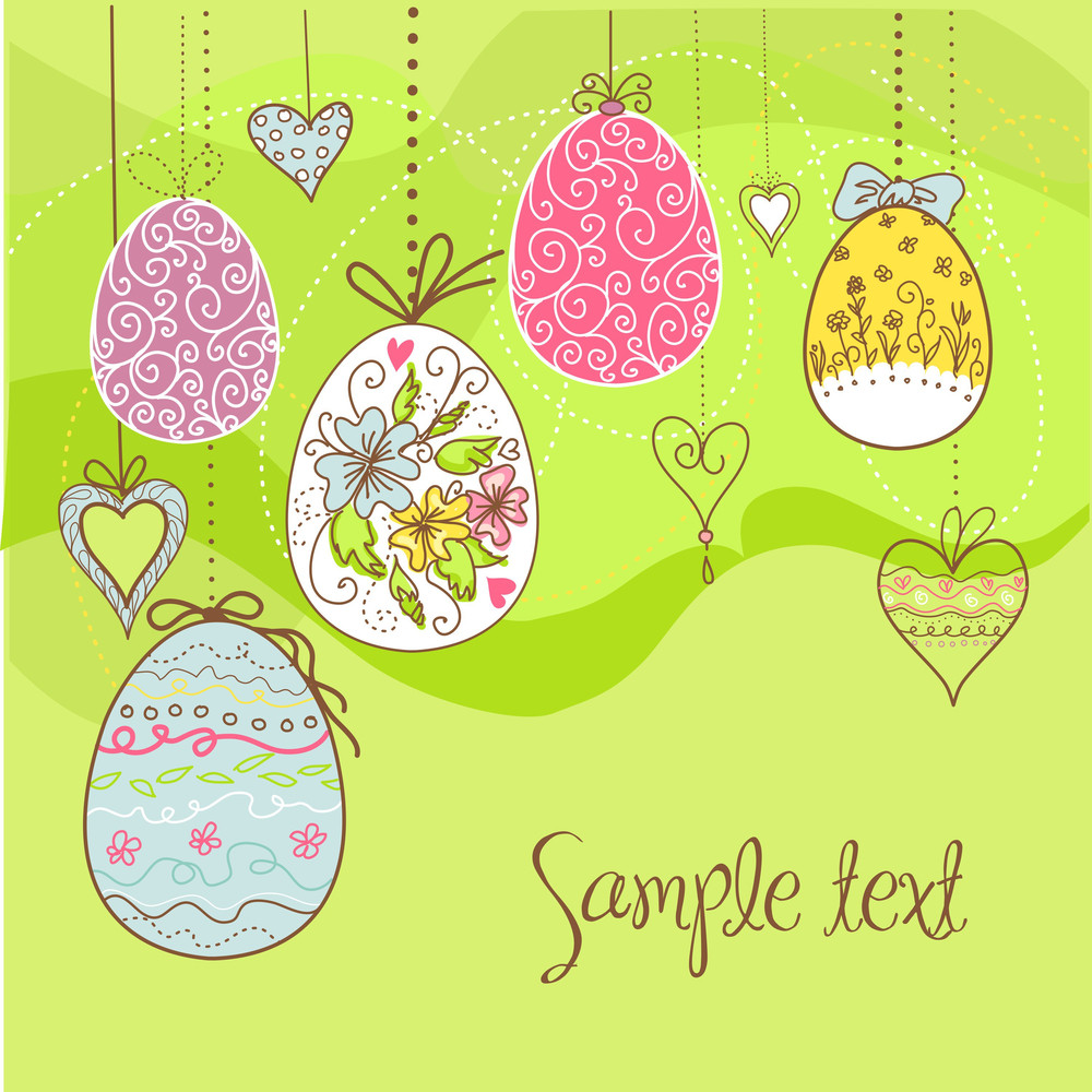 Hanging Easter Eggs And Flowers
