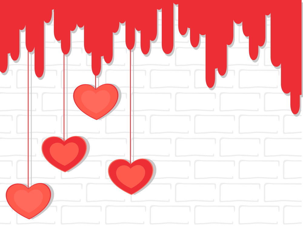 Hanging Hearts On The Wall. Vector.