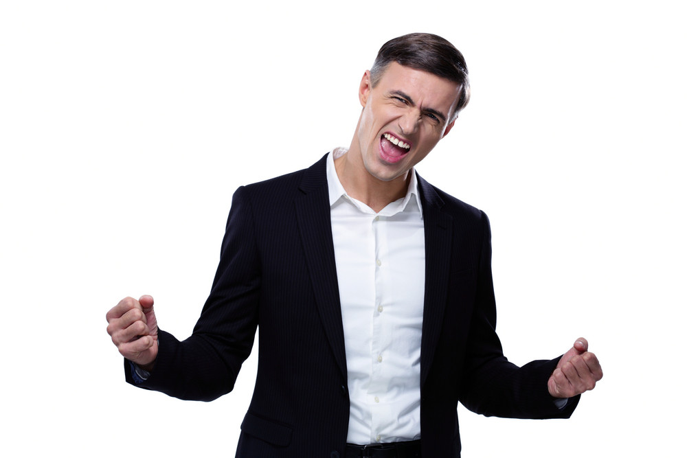 Happiness businessman isolated on a white background