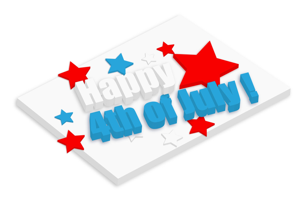 Happy 4th Of July 3d Text