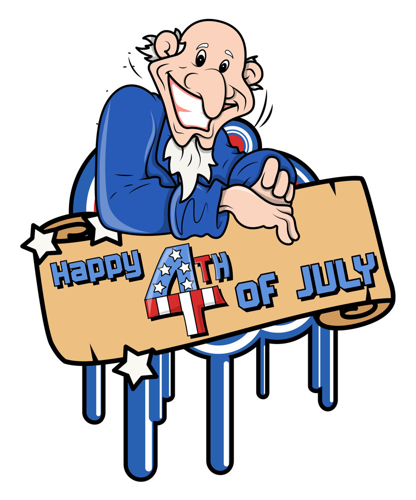 Happy 4th Of July Cartoon Uncle Sam Without Hat