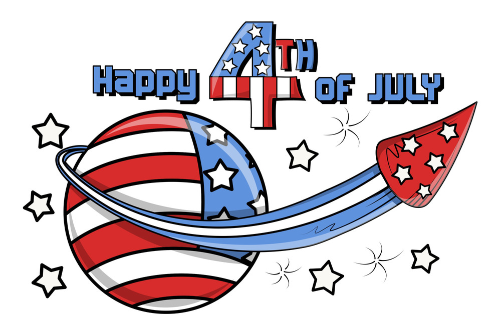 Happy 4th Of July Fireworks Mascot Vector