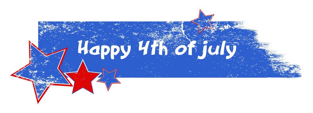 Happy 4th Of July Grunge Stroke Banner