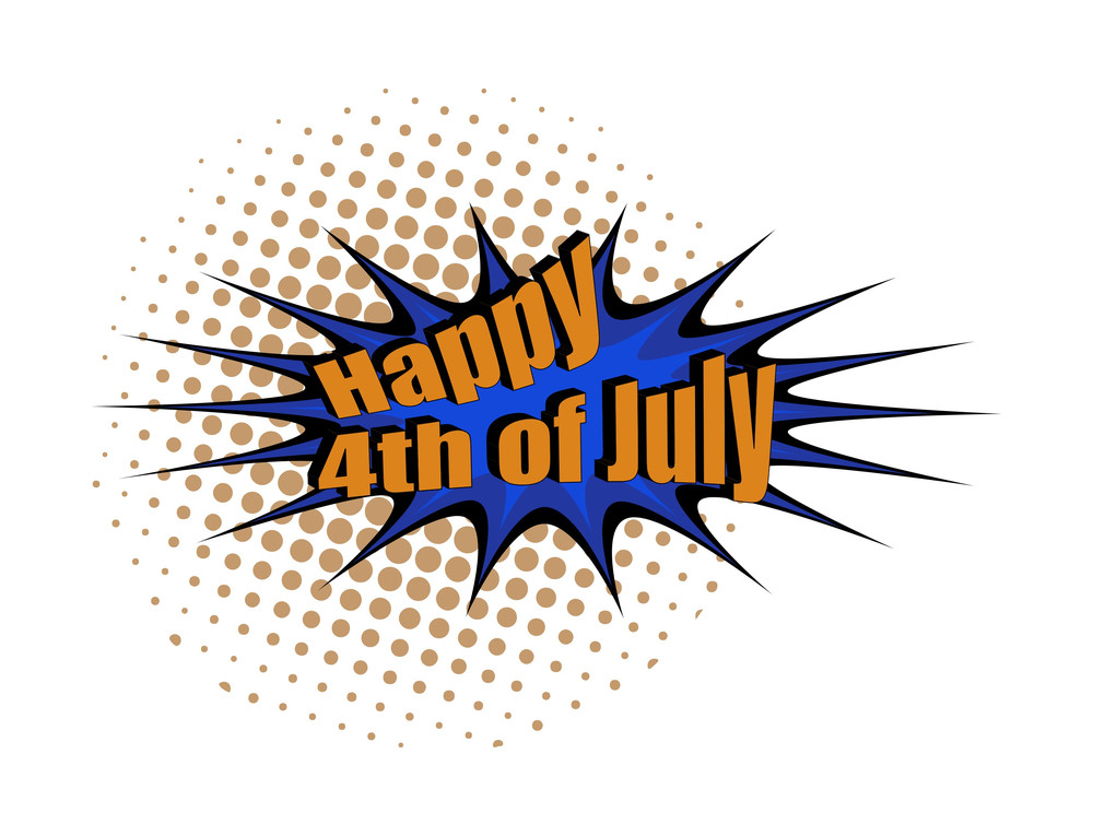 Happy 4th Of July Retro Text Banner