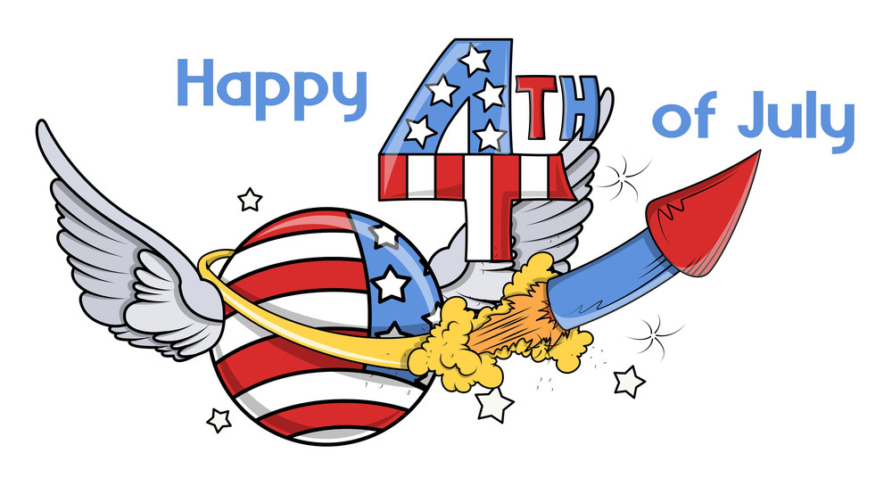 Happy 4th Of July Sparkling Illustration