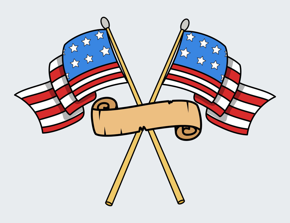 Happy 4th Of July Usa Crossed Flags Vector Illustration
