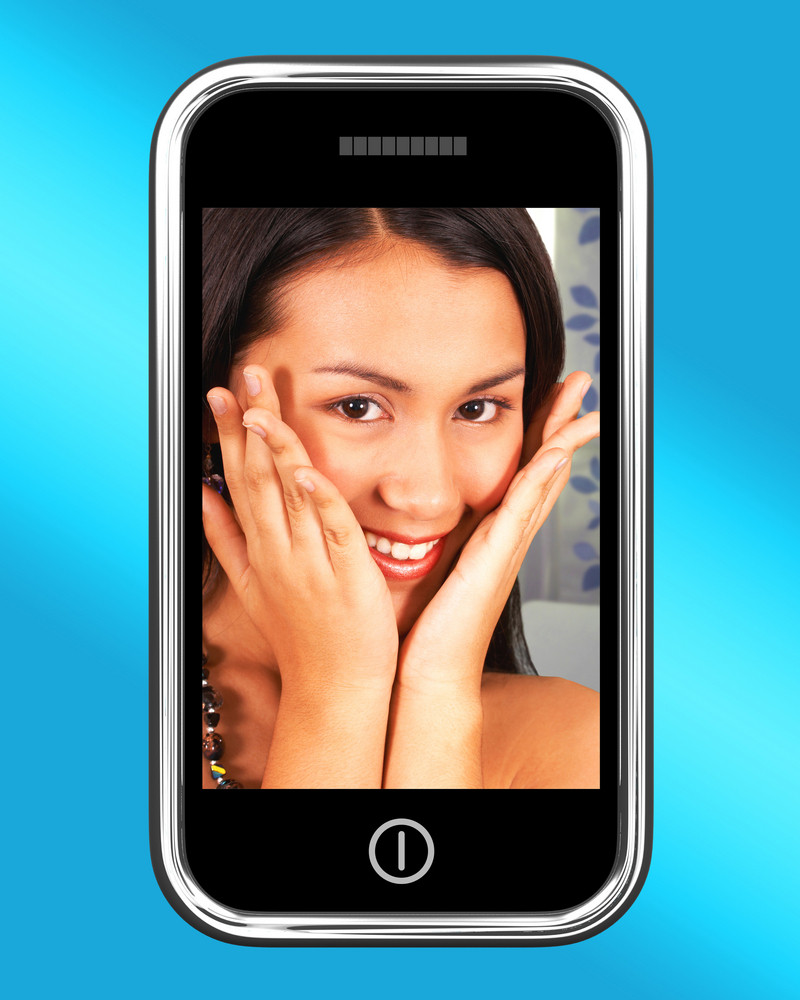Happy And Smiling Young Woman Photo On Mobile Phone