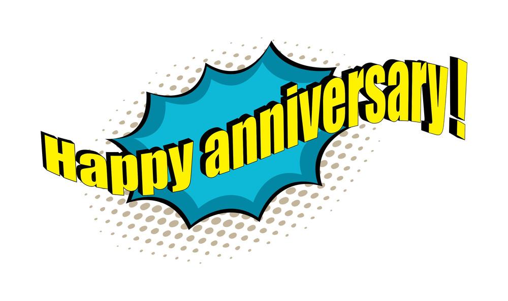 Happy Anniversary Retro Text Banner Design