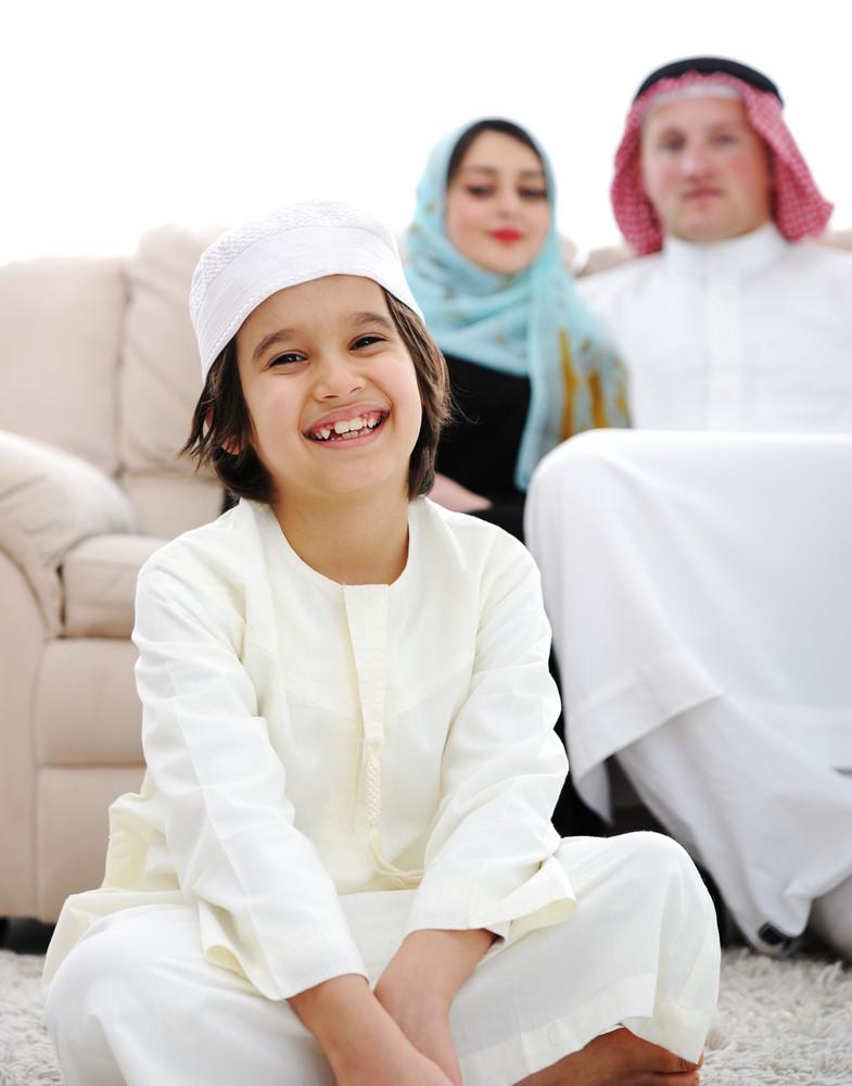 Happy Arabic family at home