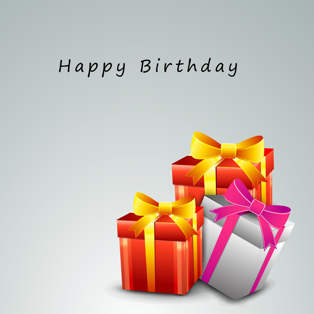 Happy Birthday Background With Colorful Glossy Gift Boxes Royalty
