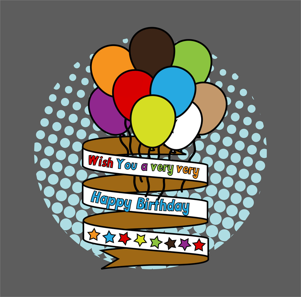 Happy Birthday Balloons With Ribbon Banner