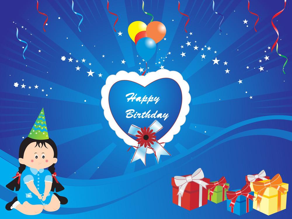 Happy Birthday Blue Vector Wallpaper