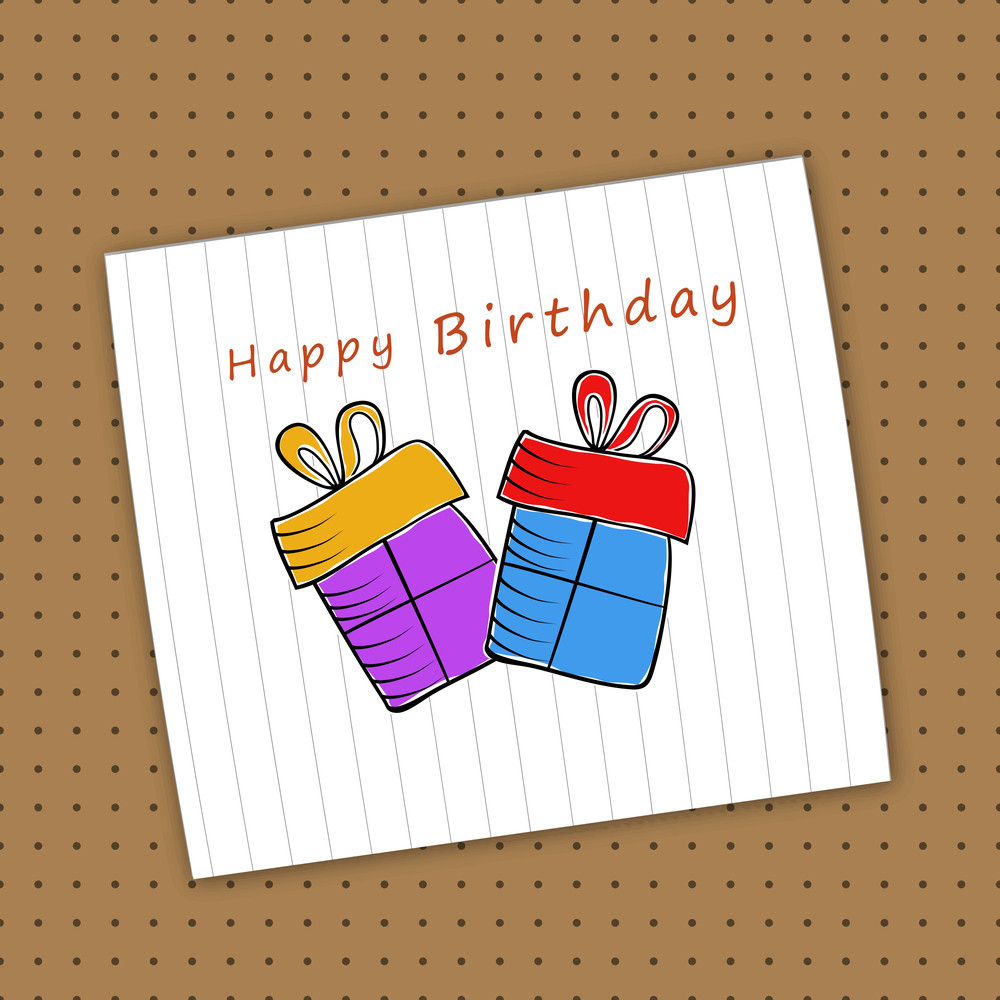 Happy Birthday Celebration Concept With Gift Boxes Design In A Notebook Paper On Brown Background.