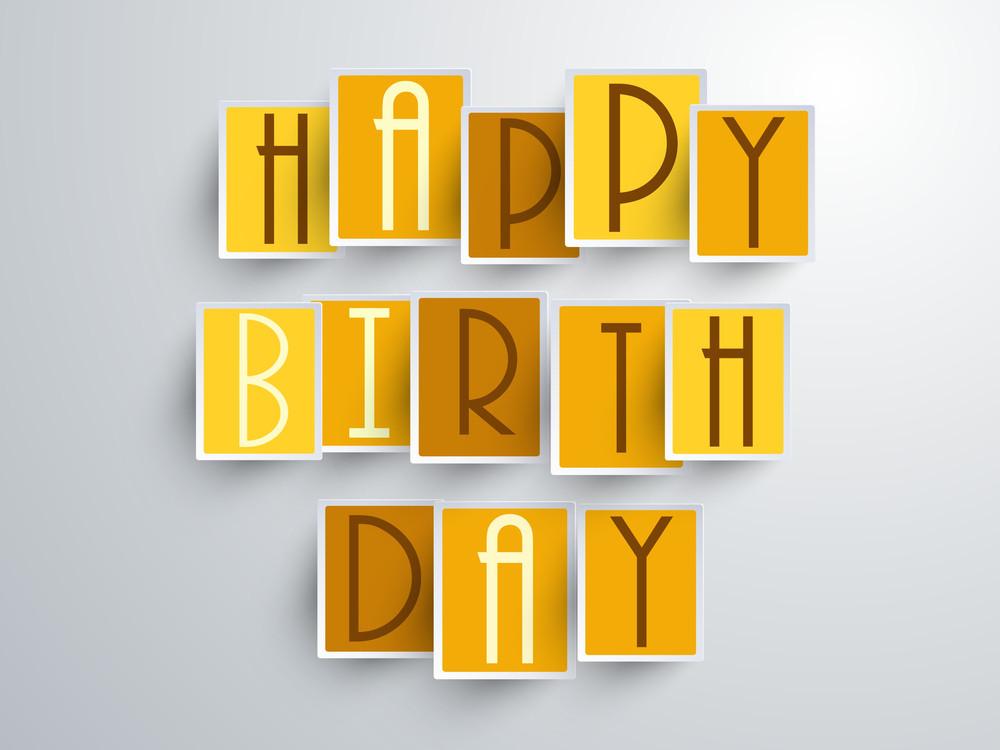 Happy Birthday Celebration Concept With Stylish Text On Blue Backgrolund.