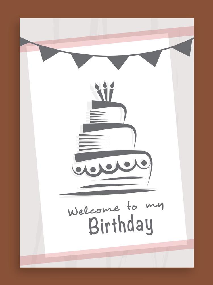 Happy Birthday Celebration Invitation Card Or Greeting Card Design